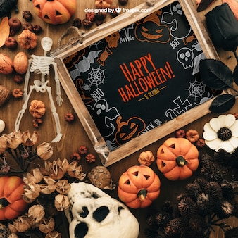 Kreatives halloween-mockup mit schiefer