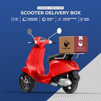 Kreatives konzept 3d-darstellung von lieferrollerfahrrad mit boxmodell m