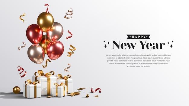 Kreatives konzept frohes neues jahr 2022 mit geschenkboxen, ballons und konfetti 3d-rendering-illustrationen