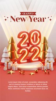 Kreatives konzept instagram story social media post frohes neues jahr 2022 mit 3d-rendering-illustrationen
