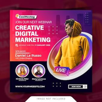 Kreatives konzept live-streaming-workshop social media post-vorlage