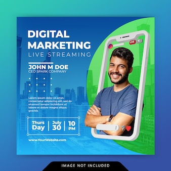 Kreatives konzept social media instagram live für digitale marketing-promotion-vorlage