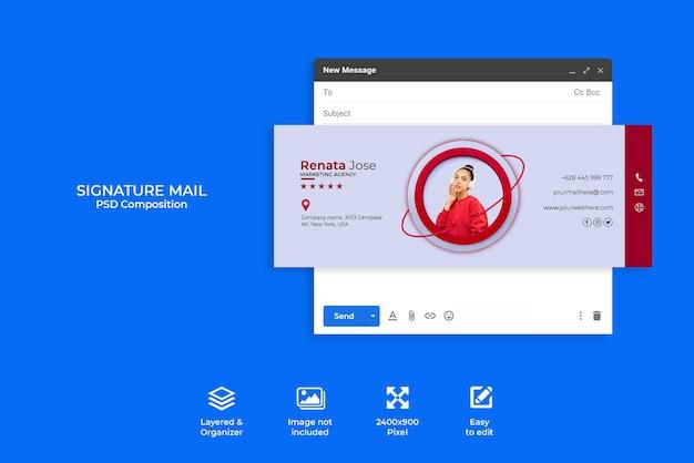 Kreativkonzept e-mail-signaturvorlagendesign oder e-mail-fußzeile und persönliches social-media-cover