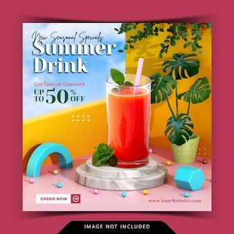 Kreativkonzept-getränkemenüanzeige mit 3d-podium-hintergrund-rendering für instagram-post-vorlage