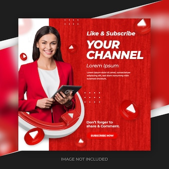 Kreativkonzept social-media-youtube-kanal-werbebeitrag mit 3d-vorlage