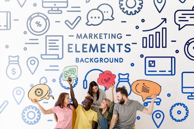 Kritzeln sie marketing-elemente mit den leuten, die ideen halten