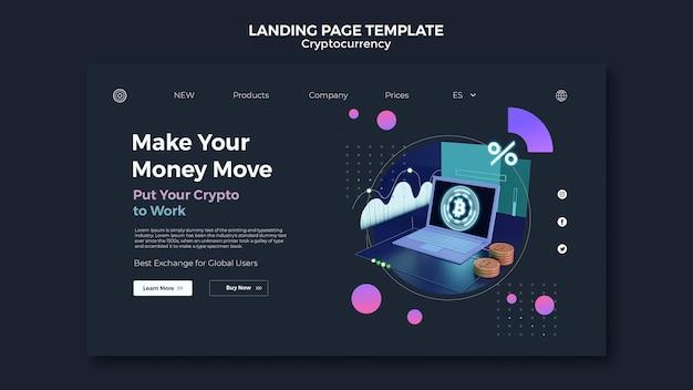 Kryptowährungs-designvorlage der landingpage