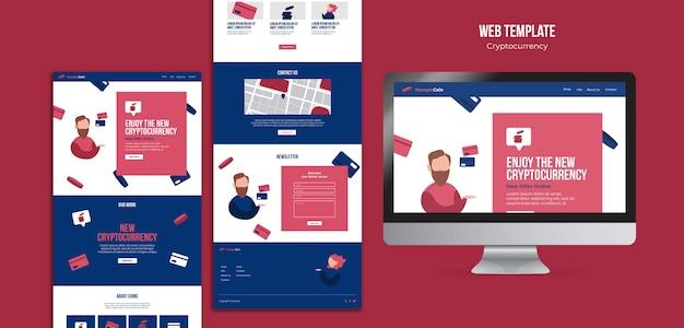 Kryptowährungs-designvorlage der webseite