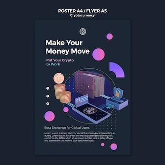 Kryptowährungs-designvorlage für poster