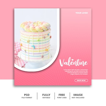 Kuchen valentine banner social media beitrag instagram regenbogen