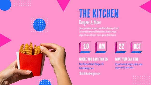 Küchenmenü mit stundenplan