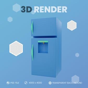 Kühlschrank 3d-render mit isoliertem hintergrund