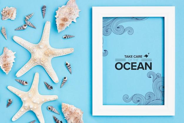 Kümmere dich um den ozean mit rahmen
