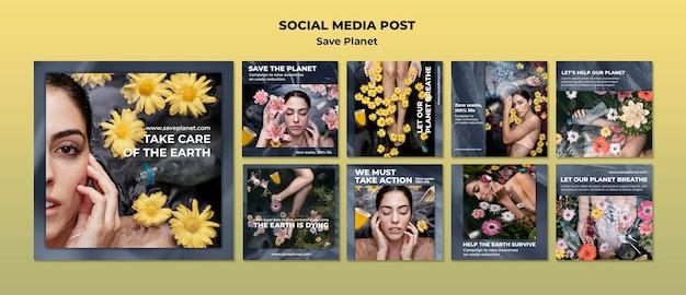 Kümmere dich um den social-media-beitrag der erde