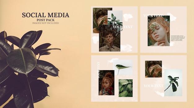 Künstlerische social media-vorlage post pack