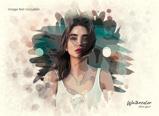 Künstlerischer aquarellpinselmalerei-fotoeffekt