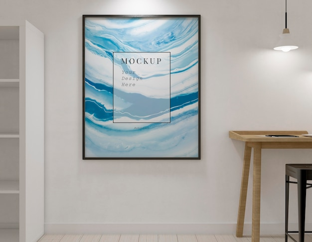 Künstlerzimmer mit minimalem rahmenmodell