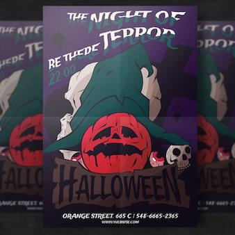 Kürbis halloween party flyer vorlage