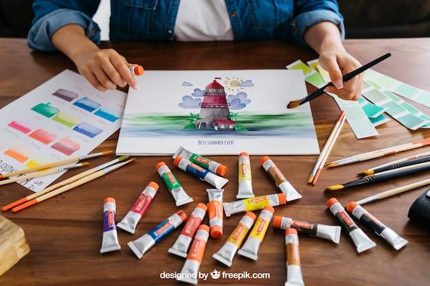 Kunst und farbe mockup