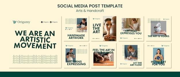 Kunst und handwerk social media post design-vorlage