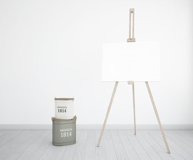 Kunstatelier mit leinwand und farbflaschen