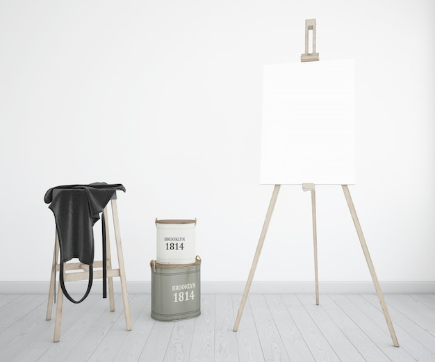 Kunstatelier mit leinwand und schürze