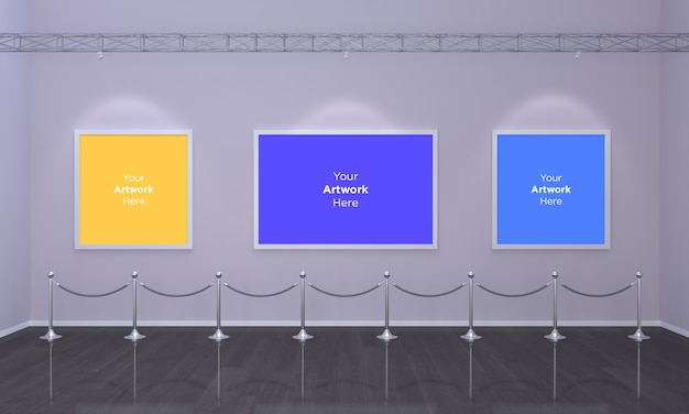 Kunstgalerie drei frames muckup 3d illustration und 3d-rendering