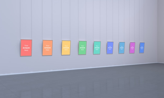Kunstgalerie multi frames muckup 3d illustration und 3d rendering