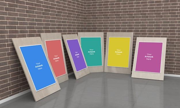 Kunstgalerie rahmen muckup 3d-illustration auf dem boden