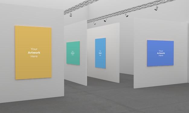 Kunstgalerie-rahmen-muckup mit scheinwerfer-3d-illustration mit unterschiedlicher wand