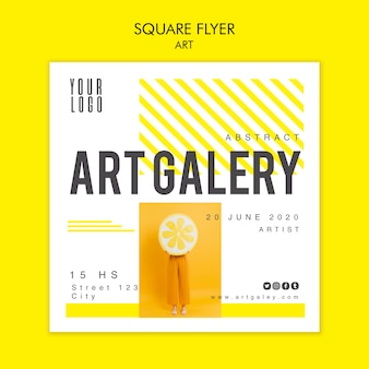 Kunstkonzept quadratische flyer-vorlage