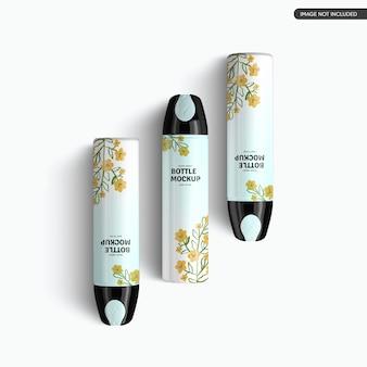 Kunststoff-kosmetikflasche mockup design