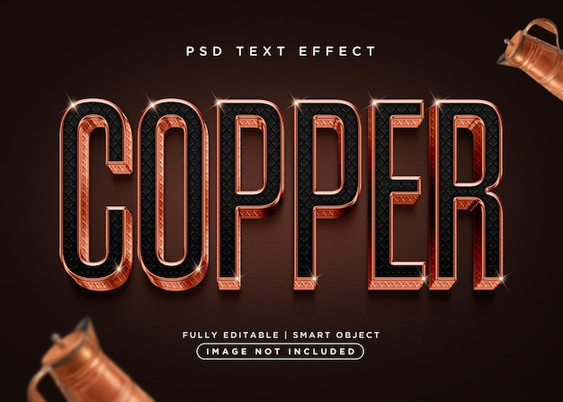 Kupfer-texteffekt im 3d-stil