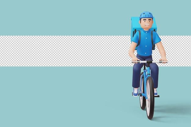 Kurier-fahrradlieferant mit paketbox auf der rückseite in der 3d-darstellung