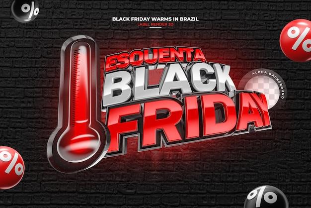 Label black friday 3d-rendering realistisch für marketingkampagnen in brasilien auf portugiesisch
