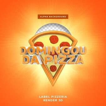 Label pizzeria 3d-rendering