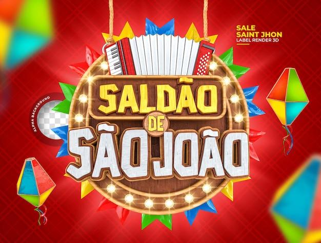 Label sale sao joao 3d-render festa junina in brasilien