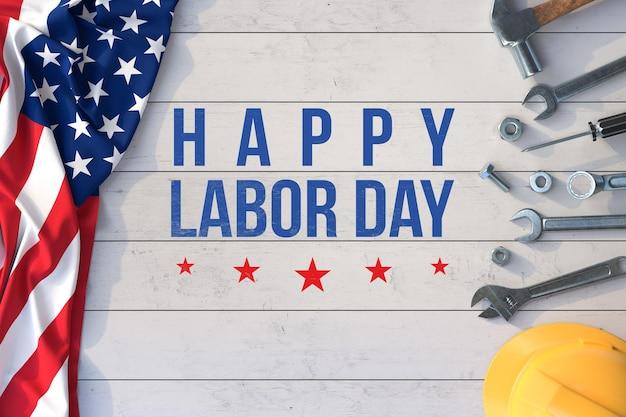 Labor day modell mit handwerkzeugen und amerikanischer flagge
