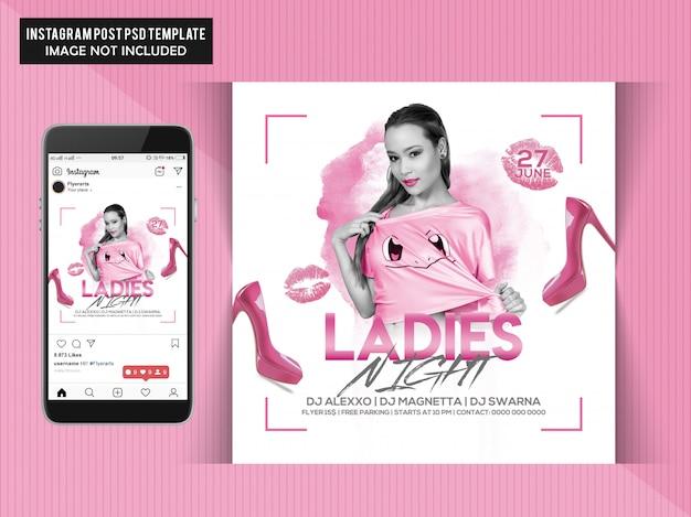 Ladies night party flyer für instagram