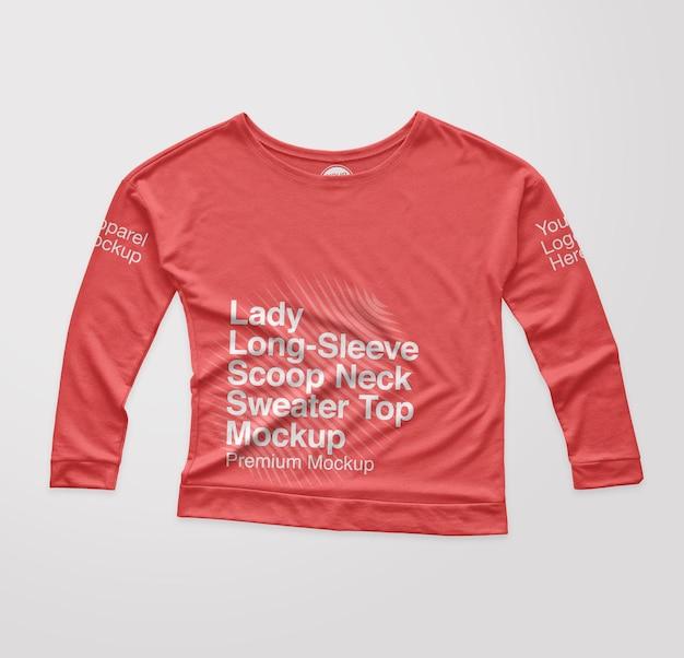 Lady longsleeve u-ausschnitt pullover top mockup