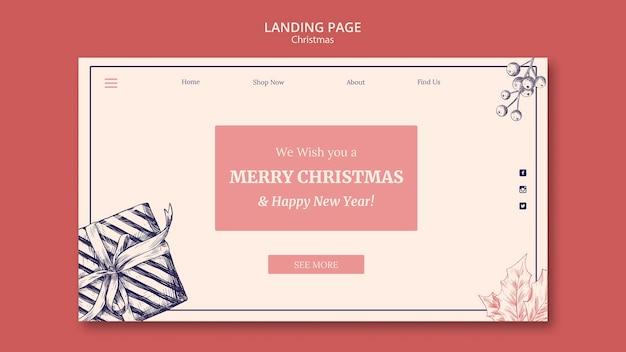 Landed page hand gezeichnete weihnachtsschablone