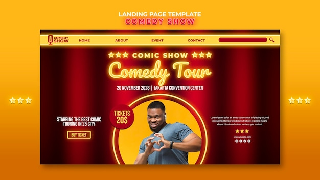Landing page comedy show vorlage