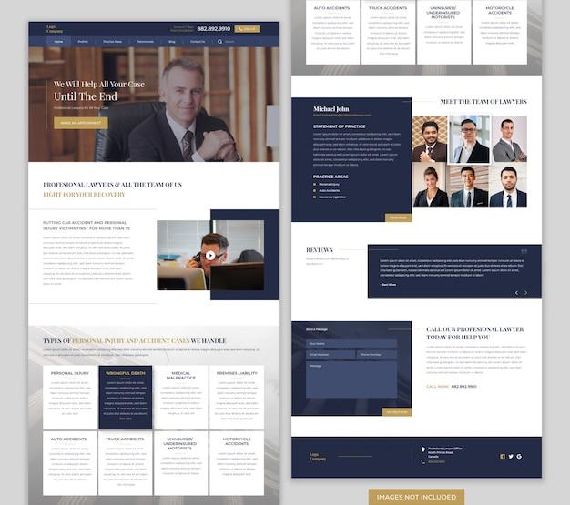 Landing page der anwaltswebsite