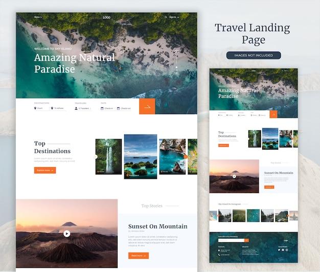 Landing page der reisewebsite