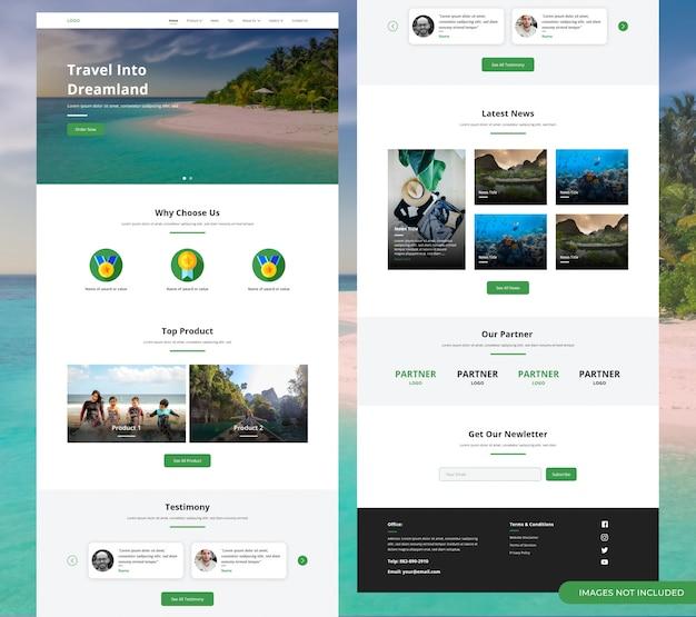 Landing page der tour & travel website