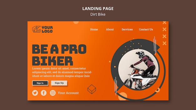 Landing page dirt bike vorlage