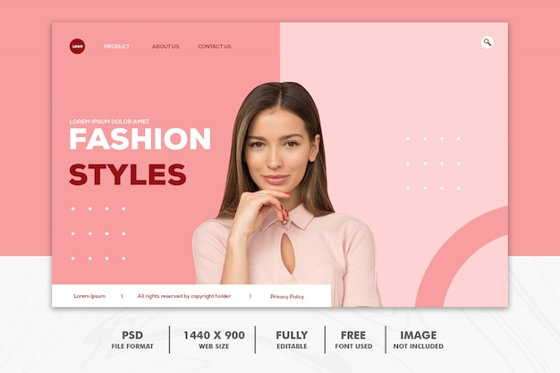Landing page fashion web pink