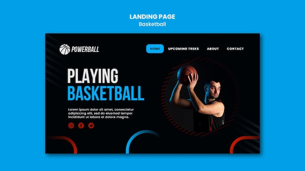 Landing page für das basketballspiel