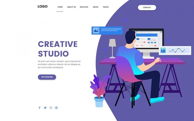 Landing page für das creative studio