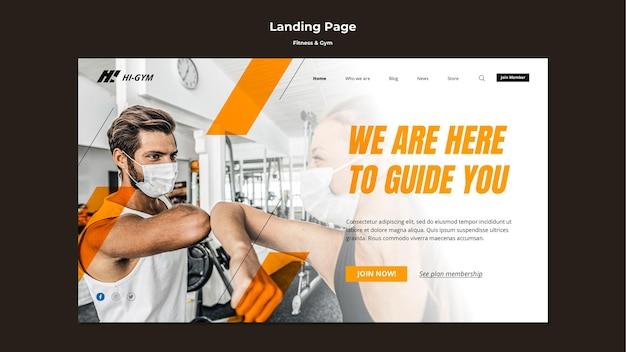 Landing page für das training im fitnessstudio während der pandemie